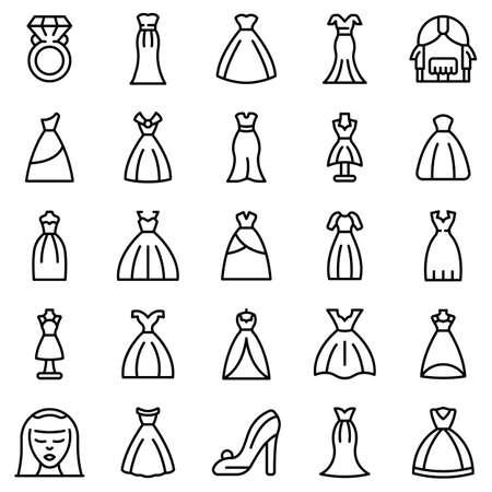 Wedding dress icons set, outline style