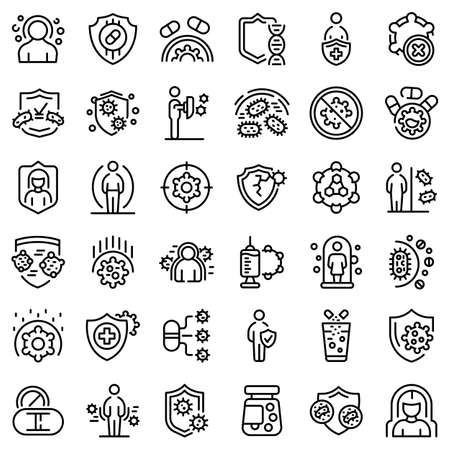 Antibiotic resistance icons set, outline style Vektorové ilustrace