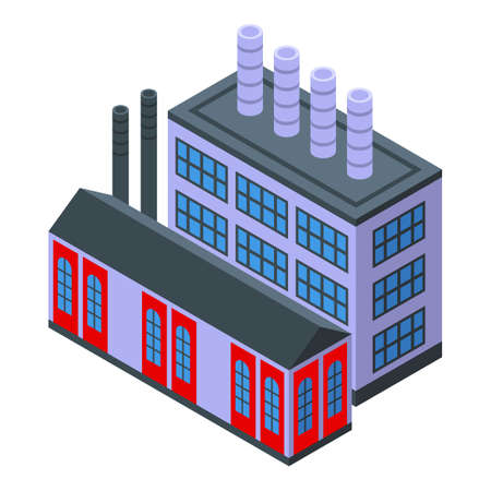 Hydroelectric factory icon, isometric style