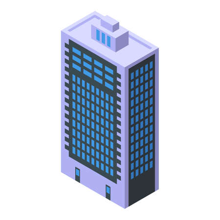 Apartment building icon, isometric style