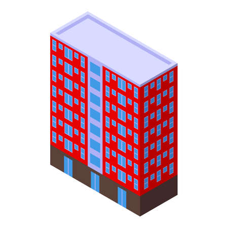 Private building apartments icon, isometric style