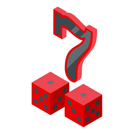 Lucky seven dice icon, isometric style