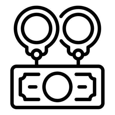 Handcuffs money icon, outline style Stock Illustratie