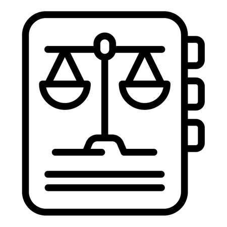 Legal document icon, outline style Stock Illustratie