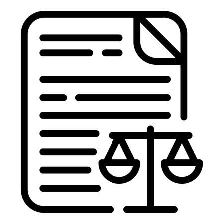 Justice document icon, outline style