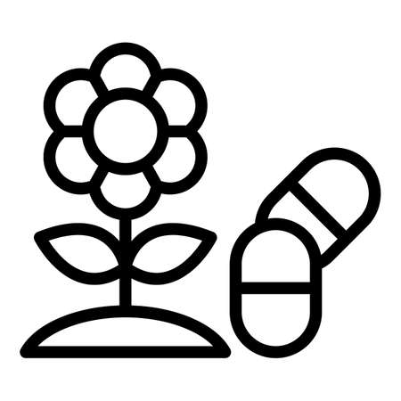 Flower allergy icon, outline style