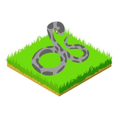 Venomous snake icon, isometric style