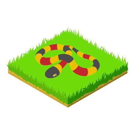 Coral snake icon, isometric style