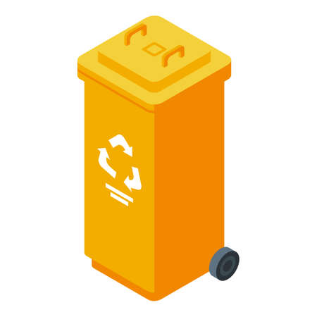 Waste container icon, isometric style