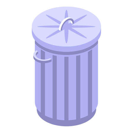 Metal trash can icon, isometric style
