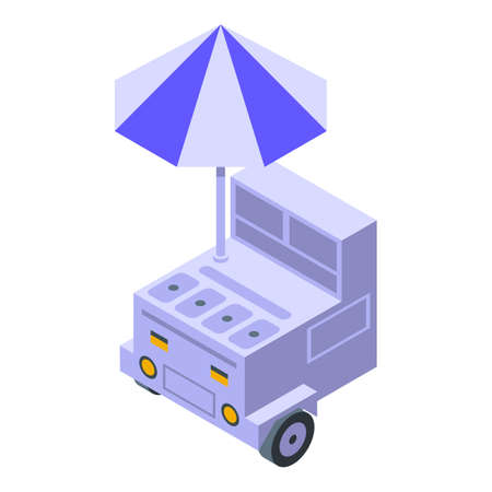 Cart for drinks icon, isometric style