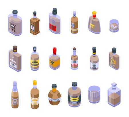 Bourbon icons set, isometric style 向量圖像