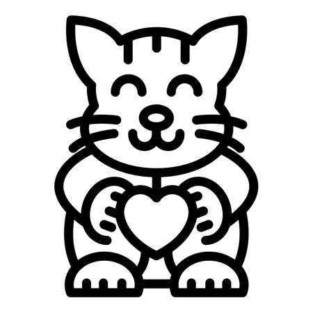 Statue of cat icon, outline style