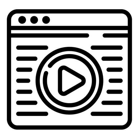 Interactive tv web page icon, outline style