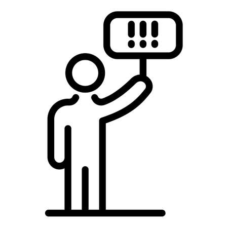 Protest man banner icon, outline style