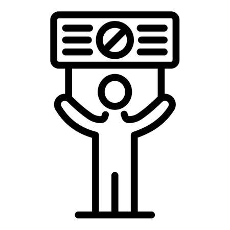 Stop protest icon, outline style