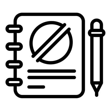 Notebook disobedient icon, outline style