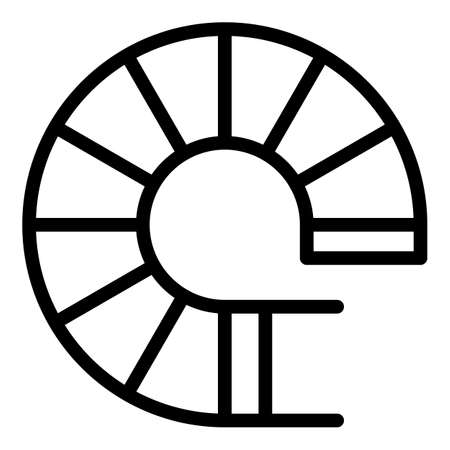 Top view circular stairs icon, outline style