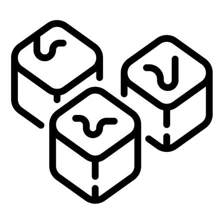 Caramel cubes icon, outline style