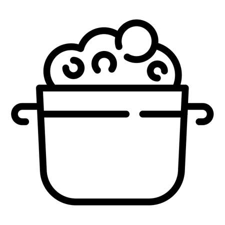 Pot mashed potatoes icon, outline style