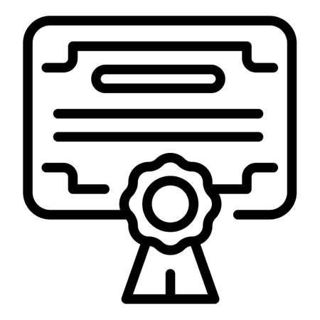 Market certificate icon, outline style