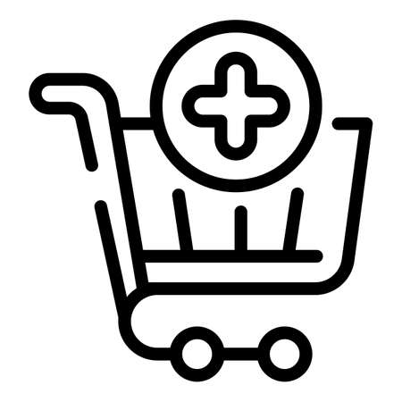 Add shopping cart icon, outline style