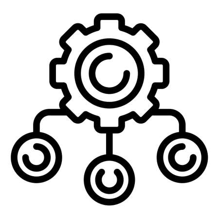 Project working system icon, outline style