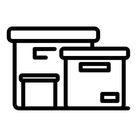 Paper production building icon, outline style