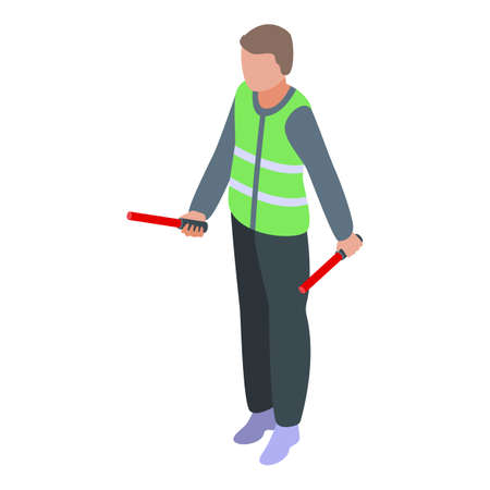 Airport worker icon, isometric style