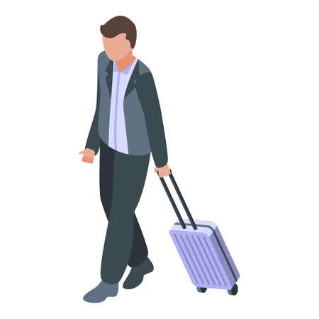 Plane departure passenger icon, isometric style