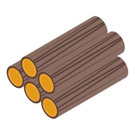 Wood logs icon, isometric style