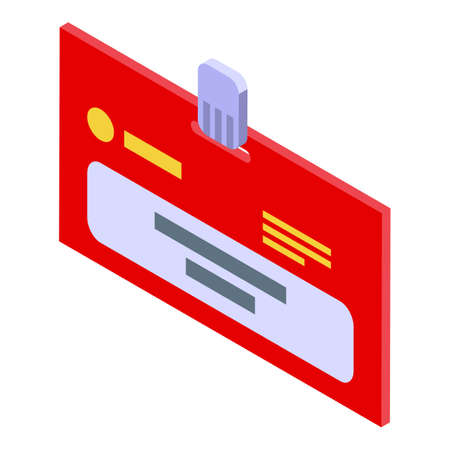 Human id card icon, isometric style