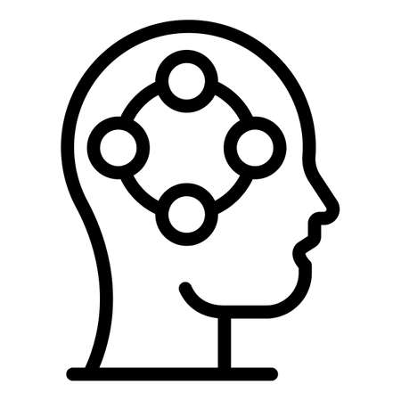 Human brain changes icon, outline style