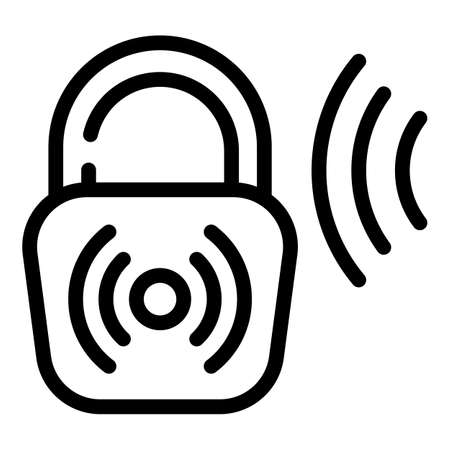 Lock voice recognition icon, outline style