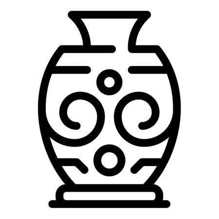 Pottery amphora icon, outline style