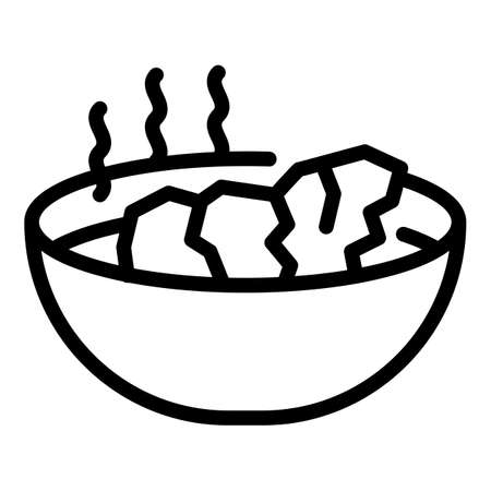 Hot meal icon, outline style