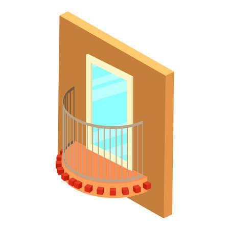 Modern balcony icon, isometric style