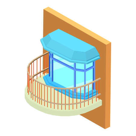 Different balcony icon, isometric style