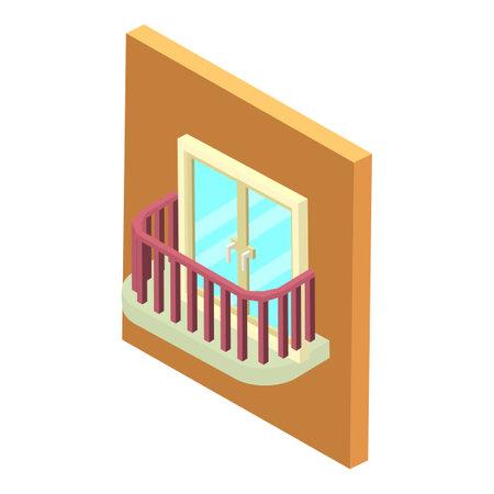 Small balcony icon, isometric style