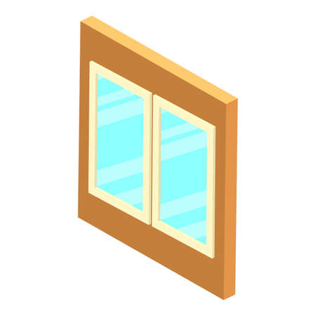 Plastic window icon, isometric style Vecteurs