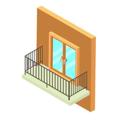 Rectangular balcony icon, isometric style