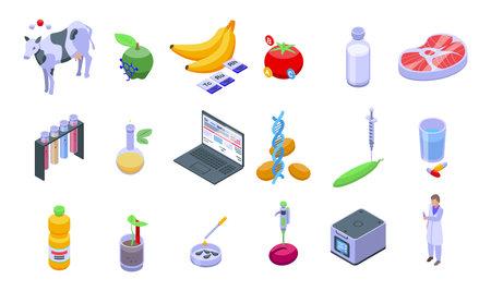 Gmo food icons set, isometric style