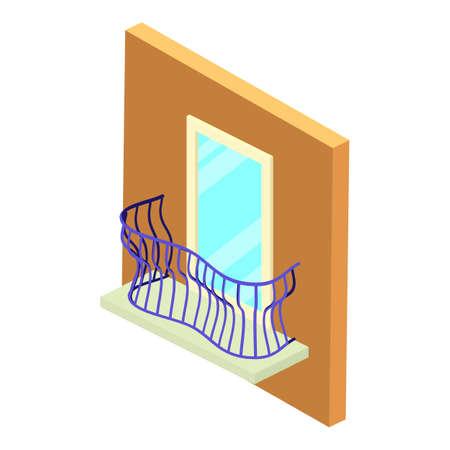 Stylish balcony icon, isometric style