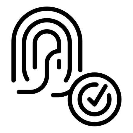 Security print finger icon, outline style