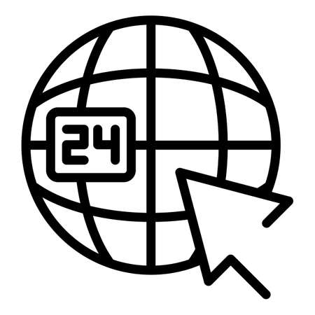 Global contact service icon, outline style