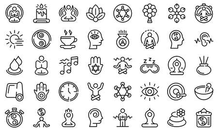 Spiritual practices icons set, outline style