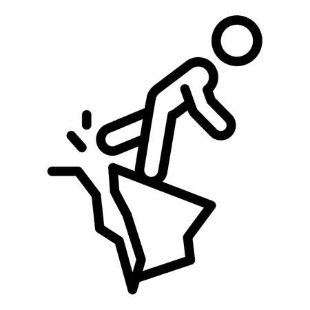 Careless person mountains icon, outline style