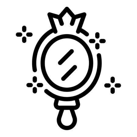 Self-esteem princess mirror icon, outline style Vektorové ilustrace