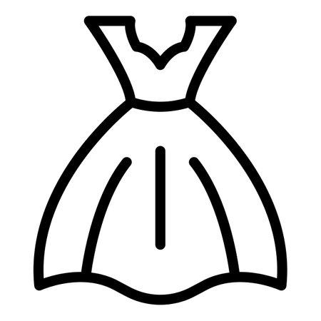 Fashion wedding dress icon, outline style