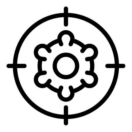 Virus target icon, outline style Vector Illustration